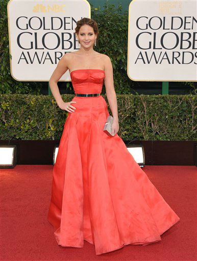 Actress Jennifer Lawrence arrives at the 70th Annual Golden Globe Awards at the Beverly Hilton Hotel on Sunday Jan. 13, 2013, in Beverly Hills, Calif. <span class=meta>(Photo by Jordan Strauss&#47;AP)</span>