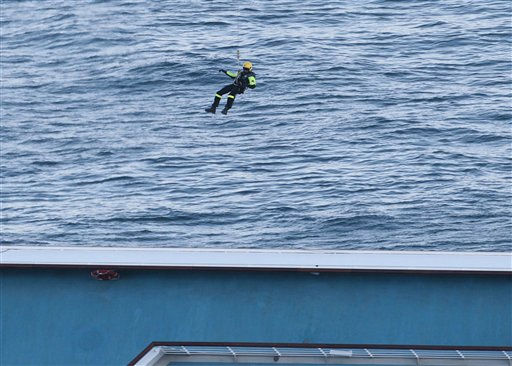 An Italian rescue worker is lowered down by an helicopter on the cruise ship Costa Concordia off the tiny Tuscan island of Giglio, Italy, Wednesday, Jan. 18, 2012. Italian searchers suspended operations on Wednesday after an enormous cruise ship grounded and partially submerged off the coast of Tuscany shifted slightly, creating concerns for the safety of divers and firefighters scouring the cruise ship for more than 20 passengers and crew still missing. &#40;AP Photo&#47;Gregorio Borgia&#41; <span class=meta>(AP Photo&#47; Gregorio Borgia)</span>