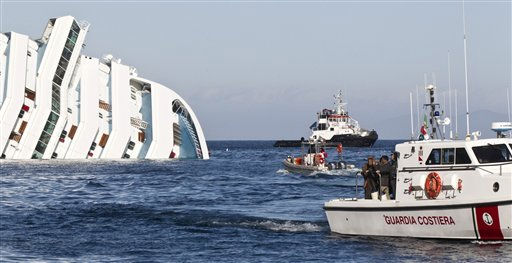 Relatives of passengers of the Costa Concordia cruise ship approach the cruise liner on a Italian Coast Guard boat, off the tiny Tuscan island of Giglio, Italy, Friday, Jan. 20, 2012. The cruise ship grounded off Tuscany shifted again on its rocky perch, forcing the supension Friday of search and rescue operations for the 21 people still missing. It wasn&#39;t not clear if the movements registered overnight by onboard sensors were just vibrations as the Costa Concordia settles on the rocks off the Tuscan island of Giglio or if the massive ocean liner is slipping off the reef. &#40;AP Photo&#47;Angelo Carconi&#41; <span class=meta>(AP Photo&#47; Angelo Carconi)</span>