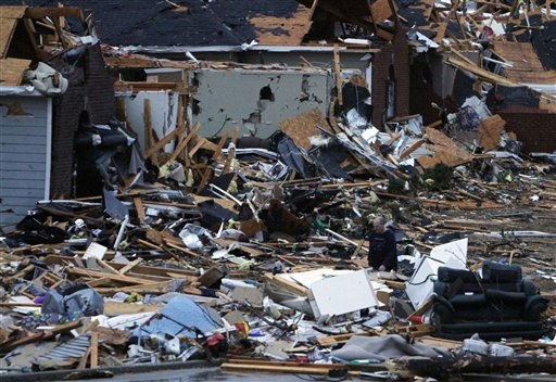 "<div class=""meta ""><span class=""caption-text "">Residents walk around through the debris of their neighborhood after a tornado ripped through the Trussville, Ala. area in the early hours of Monday, Jan. 23, 2012. Jefferson County sheriff's spokesman Randy Christian said the storm produced a possible tornado that moved across northern Jefferson County around 3:30 a.m., causing damage in Oak Grove, Graysville, Fultondale, Center Point, Clay and Trussville.   (AP Photo/ Butch Dill)</span></div>"