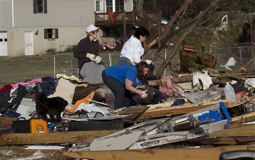 Neighbors and friends pick through the remains of Russ and Amber Butler&#39;s home in Oak Grove, Ala., Monday, Jan. 23, 2012 after a  possible tornado passed through the area. Homes were flattened, windows were blown out of cars and roofs were peeled back in the middle of the night in the community of Oak Grove near Birmingham.   <span class=meta>(AP Photo&#47; Dave Martin)</span>