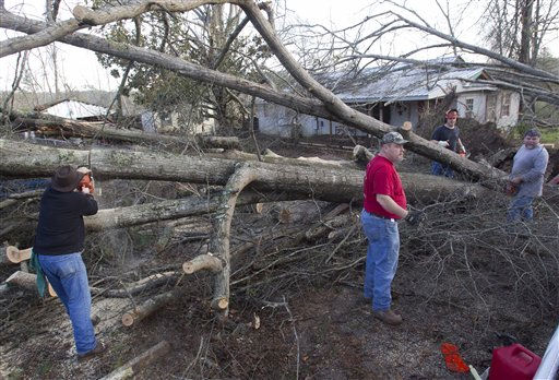Residents cut fallen trees off of houses in Oak Grove, Ala., Monday, Jan. 23, 2012. after a  possible tornado passed through the area. Homes were flattened, windows were blown out of cars and roofs were peeled back in the middle of the night in the community of Oak Grove near Birmingham.    <span class=meta>(AP Photo&#47; Dave Martin)</span>