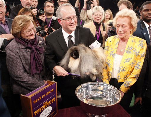Owners, from left, Sandra Middlebrooks, David Fitzpatrick and Iris Love, hold Malachy, a Pekingese, after being named best in show at the 136th annual Westminster Kennel Club dog show, Tuesday, Feb. 14, 2012, in New York. <span class=meta>(AP Photo&#47; Jason DeCrow)</span>