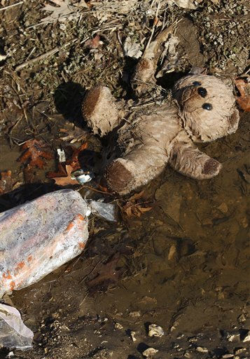 A stuffed toy lies in a ditch the morning after severe storms destroyed several homes and businesses in Harveyville, Kan., Wednesday, Feb. 29, 2012.  A powerful storm system  lashed the Midwest early Wednesday, roughing up the country music resort city of Branson and laying waste to the small town in Kansas.  <span class=meta>(AP Photo&#47; Orlin Wagner)</span>