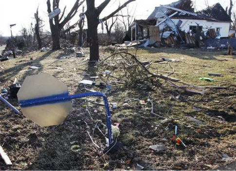 A stop sign, that was bent over by severe storms, stands on a street corner in Harveyville, Kan., Wednesday, Feb. 29, 2012.  <span class=meta>(AP Photo&#47; Orlin Wagner)</span>