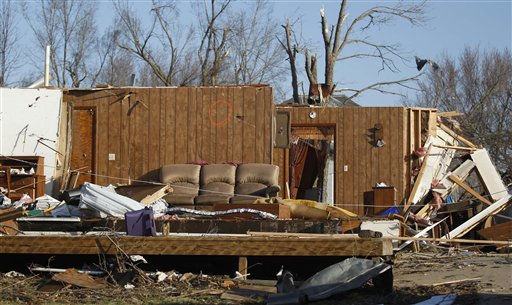 Furniture and walls are what is left of a home the morning after severe storms destroyed several homes and businesses in Harveyville, Kan., Wednesday, Feb. 29, 2012.  <span class=meta>(AP Photo&#47; Orlin Wagner)</span>
