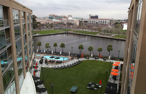 A view of the Stockton waterfront is seen from the Waterfront Hotel Wednesday, Feb. 29, 2012, in Stockton, Calif. A red, white and blue sign declaring Stockton an &#34;All-America City&#34; still adorns City Hall, but the building&#39;s crumbling facade tells the real story of the community&#39;s recent fortunes. Since the sign went up nearly a decade ago, Stockton has twice topped Forbes magazine&#39;s list of &#34;America&#39;s most miserable cities.&#34; And now another unflattering title could be headed its way: largest American city to declare bankruptcy. &#40;AP Photo&#47;Ben Margot&#41; <span class=meta>(AP Photo&#47; Ben Margot)</span>