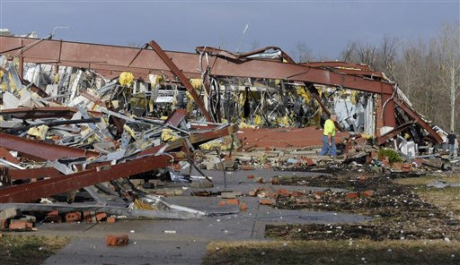 "<div class=""meta ""><span class=""caption-text "">An employee of Henryville High School examines the remains of the building following severe storms Friday, March 2, 2012, in Henryville, Ind. Tornadoes ripped across several small southern Indiana towns on Friday, killing at least three people and leaving behind miles of flattened devastation along the border with Kentucky. (AP Photo/Timothy D. Easley) (AP Photo/ Timothy D. Easley)</span></div>"