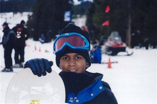 FILE - This undated file photo provided by the Martin family, shows Trayvon Martin snowboarding. Martin was slain in the town of Sanford, Fla., on Feb. 26 in a shooting that has set off a nationwide furor over race and justice. Neighborhood crime-watch captain George Zimmerman claimed self-defense and has not been arrested, though state and federal authorities are still investigating. Since the slaying, a portrait has emerged of Martin as a laid-back young man who loved sports, was extremely close to his father, liked to crack jokes with friends and, according to a lawyer for his family, had never been in trouble with the law.   <span class=meta>(AP Photo&#47; Anonymous)</span>