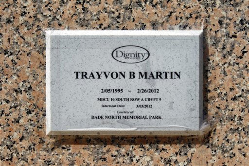 The plaque on the vault where Trayvon Martin rests is shown at the Dade North Memorial Park cemetery Friday, March 23, 2012, in Opa-Locka, Fla. The plaque is temporary. Martin was slain in the town of Sanford, Fla., on Feb. 26 in a shooting that has set off a nationwide furor over race and justice. Neighborhood crime-watch captain George Zimmerman claimed self-defense and has not been arrested, though state and federal authorities are still investigating.  <span class=meta>(AP Photo&#47; Alan Diaz)</span>