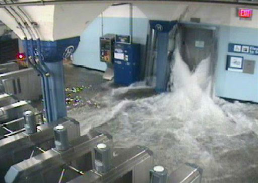 In this photo provided by the Port Authority of New York and New Jersey a surveillance camera captures the PATH station in Hoboken, N.J., as it is flooded shortly before 9:30 p.m. EDT on Monday, Oct. 29, 2012. Sandy continued on its path Monday, as the storm forced the shutdown of mass transit, schools and financial markets, sending coastal residents fleeing, and threatening a dangerous mix of high winds and soaking rain.?&#40;AP Photo&#47;Port Authority of New York and New Jersey&#41; <span class=meta>(AP Photo&#47; Uncredited)</span>