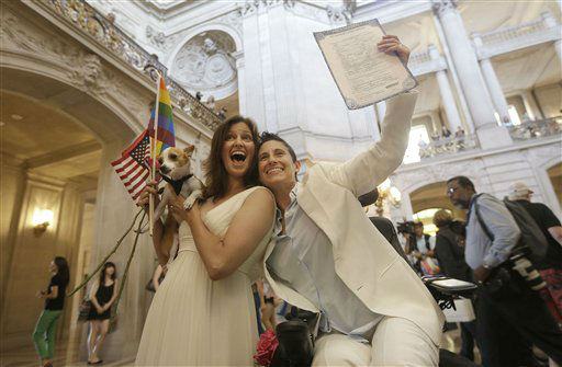 "<div class=""meta image-caption""><div class=""origin-logo origin-image ""><span></span></div><span class=""caption-text"">Jen Rainin, left, and her wife Frances celebrate with their dog Punum after they were married at City Hall in San Francisco, Friday, June 28, 2013. A three-judge panel of the 9th U.S. Circuit Court of Appeals issued a brief order Friday afternoon dissolving, ""effective immediately,"" a stay it imposed on gay marriages while the lawsuit challenging the ban advanced through the courts.   (AP Photo/ Jeff Chiu)</span></div>"