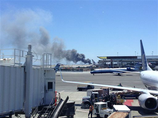 "<div class=""meta ""><span class=""caption-text "">This photo provided by Zach Custer shows smoke rising from what a federal aviation official says was an Asiana Airlines flight crashing while landing at San Francisco airport on Saturday, July 6, 2013. It was not immediately known whether there were any injuries.  (AP Photo/ Zach Custer)</span></div>"