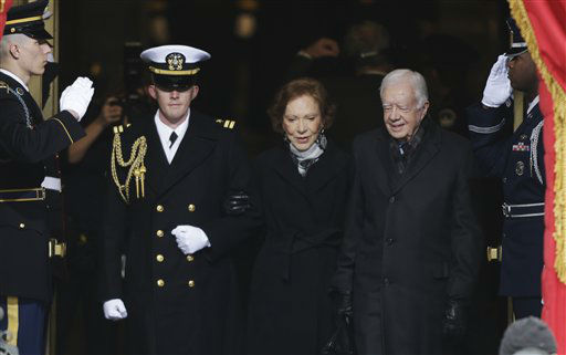 Former President Jimmy Carter arrives with his wife Rosalynn at the ceremonial swearing-in for President Barack Obama at the U.S. Capitol during the 57th Presidential Inauguration in Washington, Monday, Jan. 21, 2013.   <span class=meta>(AP Photo&#47; Pablo Martinez Monsivais)</span>