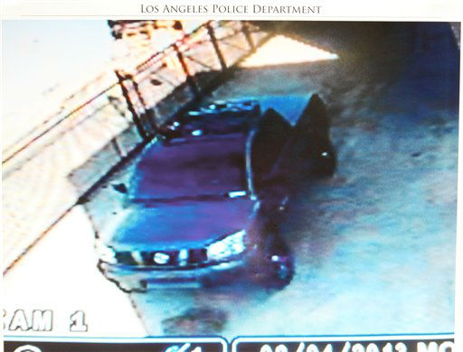 This undated photo released by the Los Angeles Police Department shows a security camera video grab of the vehicle believed to be driven by suspect Christopher Dorner, a former Los Angeles officer. Dorner, who was fired from the LAPD in 2008 for making false statements, is linked to a weekend killing in which one of the victims was the daughter of a former police captain who had represented him during the disciplinary hearing. Authorities believe Dorner opened fire early Thursday on police in cities east of Los Angeles, killing an officer and wounding another.  Police issued a statewide &#34;officer safety warning&#34; and police were sent to protect people named in the posting that was believed to be written by Dorner.   <span class=meta>(AP Photo&#47; HOPD)</span>
