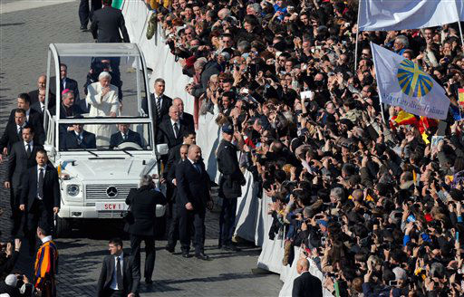 "<div class=""meta image-caption""><div class=""origin-logo origin-image ""><span></span></div><span class=""caption-text"">Pope Benedict XVI waves from his pope-mobile as he is driven through the crowd during his last general audience in St. Peter's Square, at the Vatican, Wednesday, Feb. 27, 2013.  Benedict XVI has recalled moments of ""joy and light"" during his papacy but also times of great difficulty in an emotional, final general audience in St. Peter's Square before retiring. Benedict thanked his cardinals, colleagues and ordinary faithful for their support and for respecting his decision to become the first pope in 600 years to resign.   (AP Photo/ Dmitry Lovetsky)</span></div>"