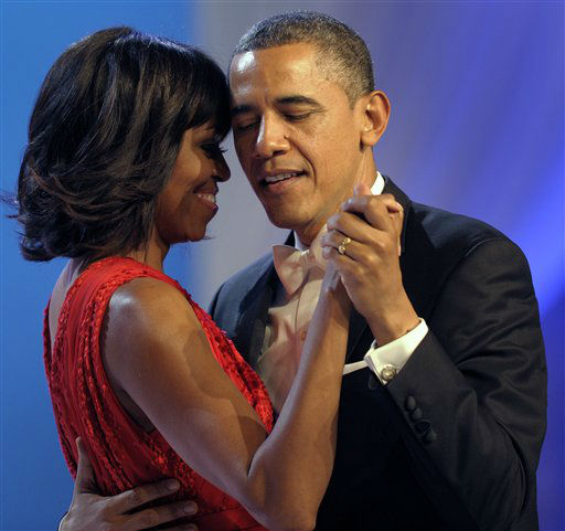 President Barack Obama dances with first lady Michelle Obama during The Inaugural Ball at the Washignton convention center during the 57th Presidential Inauguration in Washington, Monday, Jan. 21, 2013.   <span class=meta>(AP Photo&#47; Cliff Owen)</span>