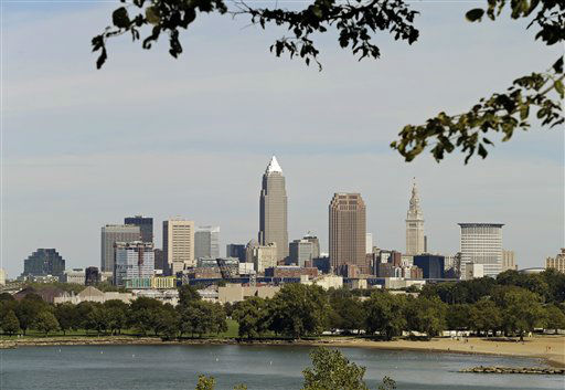 The Cleveland skyline is seen from Edgewater Park Tuesday, Sept. 11, 2012. &#40;AP Photo&#47;Mark Duncan&#41; <span class=meta>(AP Photo&#47; Mark Duncan)</span>