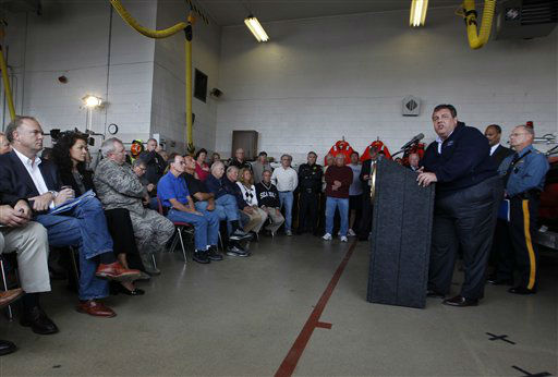 "<div class=""meta ""><span class=""caption-text "">New Jersey Gov. Chris Christie addresses a gathering Saturday, Oct. 27, 2012, in North Wildwood, N.J., as the region prepares for Hurricane Sandy. A state of emergency is in effect for New Jersey as hundreds of coastal residents have started moving inland while officials closely monitor Hurricane Sandy and its potential for creating devastating weather. Mandatory evacuations were under way in southern New Jersey's barrier islands, which people were ordered to leave by 4 p.m. Sunday. Christie also ordered the evacuations of all Atlantic City casinos by that time and said state parks would close. (AP Photo/Mel Evans) (AP Photo/ Mel Evans)</span></div>"