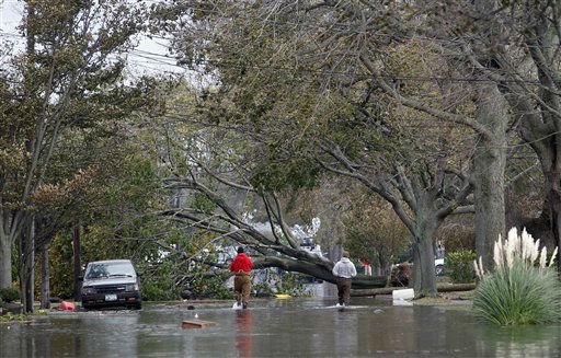 A massive fallen tree blocks a flooded street in the aftermath of superstorm Sandy, Tuesday, Oct. 30, 2012, in Lindenhurst, N.Y. &#40;AP Photo&#47;Jason DeCrow&#41; <span class=meta>(AP Photo&#47; Jason DeCrow)</span>