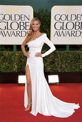 Model Heidi Klum arrives at the 70th Annual Golden Globe Awards at the Beverly Hilton Hotel on Sunday Jan. 13, 2013, in Beverly Hills, Calif. <span class=meta>(Photo by Jordan Strauss&#47;AP)</span>