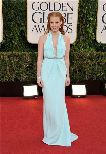 "<div class=""meta ""><span class=""caption-text "">Actress Jessica Chastain arrives at the 70th Annual Golden Globe Awards at the Beverly Hilton Hotel on Sunday Jan. 13, 2013, in Beverly Hills, Calif. (Photo by Jordan Strauss/AP)</span></div>"