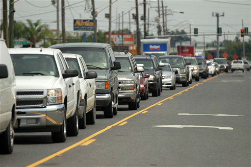 A line of traffic extends down Airline Highway as residents leave the New Orleans area in anticipation of Tropical Storm Isaac, in Kenner, La., Monday, Aug. 27, 2012. Isaac  is expected to make landfall on the Louisiana coast as a hurricane.   <span class=meta>(AP Photo&#47; Gerald Herbert)</span>