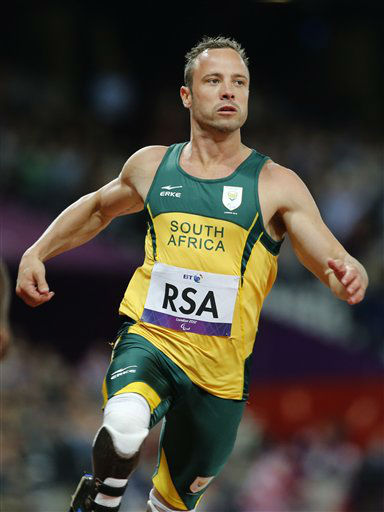 "<div class=""meta ""><span class=""caption-text "">FILE - In this Wednesday, Sept. 5, 2012 file photo, South Africa's Oscar Pistorius wins the Men's 4 x 100 Relay T42-46 final at the 2012 Paralympics in London. Pistorius has been arrested after a 30-year-old woman was shot dead at his home in South Africa, early Thursday, Feb. 14, 2013.   (AP Photo/ Emilio Morenatti)</span></div>"