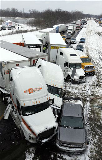"<div class=""meta ""><span class=""caption-text "">Police and emergency personal work the scene of a pileup involving more than 40-vehicles on Interstate 70 in Plainfield, Ind., Thursday, Jan. 31, 2013. The crash closed the interstate in both direction and authorities reported at least seven minor injuries.   (AP Photo/ Michael Conroy)</span></div>"