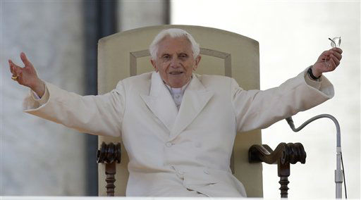 "<div class=""meta ""><span class=""caption-text "">Pope Benedict XVI opens his arms during his final general audience in St. Peter's Square at the Vatican, Wednesday, Feb. 27, 2013. Pope Benedict XVI basked in an emotional sendoff Wednesday at his final general audience in St. Peter's Square, recalling moments of ""joy and light"" during his papacy but also times of great difficulty. He also thanked his flock for respecting his decision to retire.   (AP Photo/ Gregorio Borgia)</span></div>"