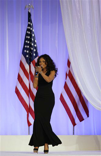Jennifer Hudson sings while President Barack Obama and his wife Michelle dance at the Inaugural Ball at the 57th Presidential Inauguration in Washington, Monday, Jan. 21, 2013.   <span class=meta>(AP Photo&#47; Paul Sancya)</span>