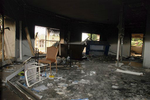 "<div class=""meta image-caption""><div class=""origin-logo origin-image ""><span></span></div><span class=""caption-text"">Glass, debris and overturned furniture are strewn inside a room in the gutted U.S. consulate in Benghazi, Libya, after an attack that killed four Americans, including Ambassador Chris Stevens, Wednesday, Sept. 12, 2012. The American ambassador to Libya and three other Americans were killed when a mob of protesters and gunmen overwhelmed the U.S. Consulate in Benghazi, setting fire to it in outrage over a film that ridicules Islam's Prophet Muhammad. Ambassador Chris Stevens, 52, died as he and a group of embassy employees went to the consulate to try to evacuate staff as a crowd of hundreds attacked the consulate Tuesday evening, many of them firing machine-guns and rocket-propelled grenades.(AP Photo/Ibrahim Alaguri) (AP Photo/ Ibrahim Alaguri)</span></div>"