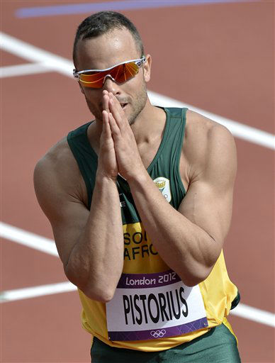 "<div class=""meta ""><span class=""caption-text "">FILE - This is a Saturday, Aug. 4, 2012 file photo of South Africa's Oscar Pistorius  as he reacts after finishing first in a men's 400-meter heat during the athletics in the Olympic Stadium at the 2012 Summer Olympics, London  Paralympic superstar Oscar Pistorius was charged Thursday Feb. 14. 2013 with the murder of his girlfriend who was shot inside his home in South Africa, a stunning development in the life of a national hero known as the Blade Runner for his high-tech artificial legs.   (AP Photo/ Martin Meissner)</span></div>"