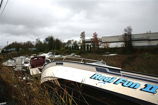 Boats pile up 30 yards or more from the water?s edge, Tuesday, Oct. 30, 2012, in the Cliffwood Beach section of Aberdeen, N.J. Sandy, the storm that made landfall Monday, caused multiple fatalities, halted mass transit and cut power to more than 6 million homes and businesses.   <span class=meta>(AP Photo&#47; Peter Hermann III)</span>