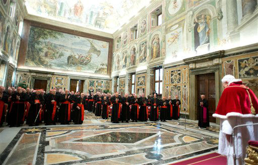"<div class=""meta image-caption""><div class=""origin-logo origin-image ""><span></span></div><span class=""caption-text"">In this photo provided by the Vatican newspaper L'Osservatore Romano, Pope Benedict XVI delivers his message on the occasion of his farewell meeting to cardinals, at the Vatican, Thursday, Feb. 28, 2013. Benedict XVI promised his ""unconditional reverence and obedience"" to his successor in his final words to his cardinals Thursday, a poignant farewell before he becomes the first pope in 600 years to resign. (AP photo)</span></div>"