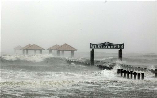 "<div class=""meta ""><span class=""caption-text "">Waves from Hurricane Isaac batter the a pier, Wednesday, Aug. 29, 2012, in Gulfport, Miss. Isaac pelted parts of south Mississippi with heavy rains, flooding some homes in low-lying areas and turning parts of beachside U.S. Highway 90 into a river near Biloxi casinos.   (AP Photo/ John Bazemore)</span></div>"