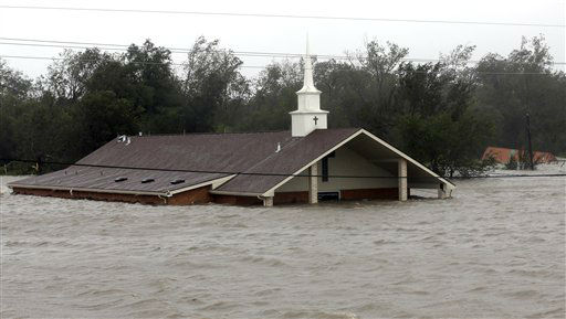A church is flooded as Hurricane Isaac hits Wednesday, Aug. 29, 2012, in Braithwaite, La.   <span class=meta>(AP Photo&#47; David J. Phillip)</span>