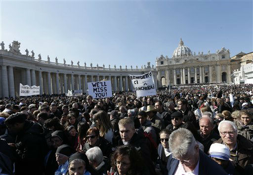 "<div class=""meta ""><span class=""caption-text "">Faithful leave at the end of Pope Benedict XVI's last general audience in St. Peter's Square, at the Vatican, Wednesday, Feb. 27, 2013. Benedict XVI basked in an emotional sendoff Wednesday at his final general audience in St. Peter's Square, recalling moments of ""joy and light"" during his papacy but also times of great difficulty. He also thanked his flock for respecting his decision to retire.  (AP Photo/ Alessandra Tarantino)</span></div>"