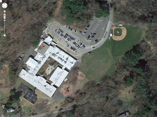 "<div class=""meta ""><span class=""caption-text "">This satellite image provided by Google shows the Sandy Hook Elementary School in Newtown, Conn. A shooting at the school Friday, Dec. 14, 2012, left the gunman dead and at least one teacher wounded.   (AP Photo/ Uncredited)</span></div>"