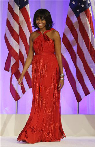 First lady Michelle Obama arrives Commander-in-Chief&#39;s Inaugural Ball at the 57th Presidential Inauguration in Washington, Monday, Jan. 21, 2013.  <span class=meta>(AP Photo&#47; Jacquelyn Martin)</span>