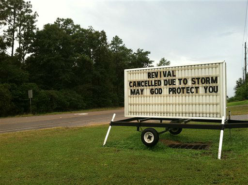 The Theodore Church of God in Theodore, Ala. canceled its revival because of the storm, Tuesday, Aug. 28, 2012. Gov. Robert Bentley has lifted the mandatory evacuation order for parts of Alabama&#39;s two coastal counties.   <span class=meta>(AP Photo&#47; Jessica Gresko)</span>