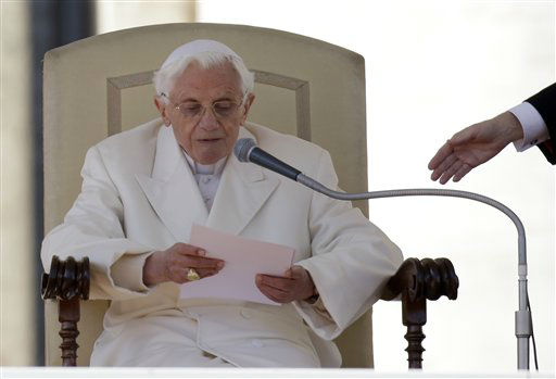 "<div class=""meta ""><span class=""caption-text "">Pope Benedict XVI reads a message during his final general audience in St. Peter's Square at the Vatican, Wednesday, Feb. 27, 2013. Pope Benedict XVI basked in an emotional sendoff Wednesday at his final general audience in St. Peter's Square, recalling moments of ""joy and light"" during his papacy but also times of great difficulty. He also thanked his flock for respecting his decision to retire.   (AP Photo/ Gregorio Borgia)</span></div>"