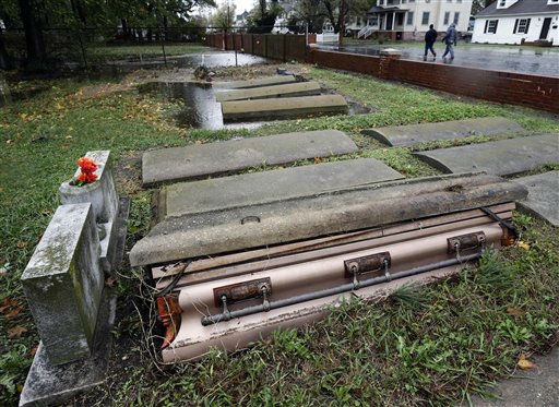 "<div class=""meta ""><span class=""caption-text "">A casket floated out of the grave in a cemetery in Crisfield, Md. after the effects of superstorm Sandy Tuesday, Oct. 30, 2012. Hundreds of people were displaced by floodwaters in Ocean City and in Crisfield. At the same time, 2 feet of snow fell in westernmost Garrett County, were nearly three-quarters of residents lost power.   (AP Photo/ Alex Brandon)</span></div>"