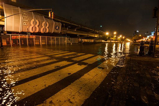 This photo provided by Dylan Patrick shows flooding along the Westside Highway as Sandy moves through the area Monday, Oct. 29, 2012 in New York. Much of New York was plunged into darkness Monday by a superstorm that overflowed the city&#39;s historic waterfront, flooded the financial district and subway tunnels and cut power to nearly a million people. &#40;AP Photo&#47;Dylan Patrick&#41; MANDATORY CREDIT: DYLAN PATRICK <span class=meta>(AP Photo&#47; Dylan Patrick)</span>