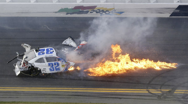Kyle Larson&#39;s car comes apart after a crash at the conclusion of the NASCAR Nationwide Series auto race Saturday, Feb. 23, 2013, at Daytona International Speedway in Daytona Beach, Fla. &#40;AP Photo&#47;Chris O&#39;Meara&#41; <span class=meta>(AP Photo&#47; Chris O&#39;Meara)</span>