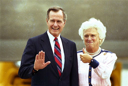 "<div class=""meta ""><span class=""caption-text "">Vice President George Bush waves as his wife Barbara gives the thumb's up to photographers on their arrival in New Orleans, Aug. 15, 1988.  The vice president is expected to receive the Republican presidential nomination on Wednesday night at the Republican National Convention.  (AP Photo/ Ed Reinke)</span></div>"