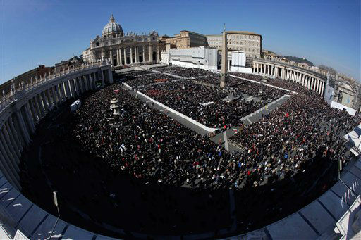 "<div class=""meta ""><span class=""caption-text "">A view of the crowd in St. Peter's Square during Pope Benedict XVI's last general audience in St. Peter's Square, at the Vatican, Wednesday, Feb. 27, 2013. Benedict XVI basked in an emotional sendoff Wednesday at his final general audience in St. Peter's Square, recalling moments of ""joy and light"" during his papacy but also times of great difficulty. He also thanked his flock for respecting his decision to retire.  (AP Photo/ Andrew Medichini)</span></div>"