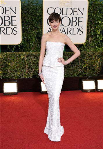 Actress Anne Hathaway arrives at the 70th Annual Golden Globe Awards at the Beverly Hilton Hotel on Sunday Jan. 13, 2013, in Beverly Hills, Calif. <span class=meta>(Photo by John Shearer&#47;AP)</span>