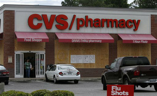CVS remains open, but prepared for Isaac&#39;s arrival in Bayou La Batre, Ala. on Monday, Aug. 27, 2012. The National Hurricane Center predicted Isaac would grow to a Category 1 hurricane over the warm Gulf and possibly hit late Tuesday somewhere along a roughly 300-mile &#40;500-kilometer&#41; stretch from the bayous southwest of New Orleans to the Florida Panhandle.?The size of the warning area and the storm&#39;s wide bands of rain and wind prompted emergency declarations in four states, and hurricane-tested residents were boarding up homes, stocking up on food and water or getting ready to evacuate.   <span class=meta>(AP Photo&#47; Butch Dill)</span>