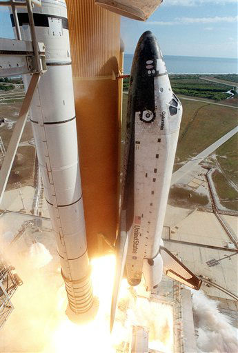 "<div class=""meta ""><span class=""caption-text "">FILE - In this Jan. 16, 2003 file photo, the space shuttle Columbia liftoffs from the Kennedy Space Center in Cape Canaveral, Fla. Space shuttle Columbia broke apart in flames 200,000 feet over Texas on Saturday, Feb. 1, 2003 killing all seven astronauts just minutes before they were to glide to a landing in Florida. Ten years later, reminders of Columbia are everywhere, including up in the sky.  Everything from asteroids, lunar craters and Martian hills, to schools, parks, streets and even an airport (Rick Husband Amarillo International Airport) bear the Columbia astronauts' names. Two years ago, a museum opened in Hemphill, Texas, where much of the Columbia wreckage rained down, dedicated to ""remembering Columbia.""  About 84,000 pounds of that wreckage, representing 40 percent of NASA's oldest space shuttle, are stored at Kennedy and loaned for engineering research.(AP Photo/Chris O'Meara) (AP Photo/ Chris O'Meara)</span></div>"